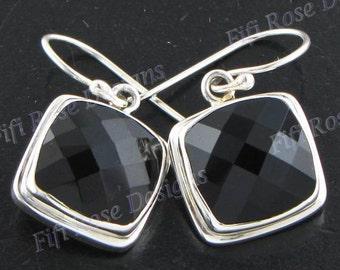 """11/16"""" 12mm Checkerboard Cut Onyx 925 Sterling Silver Earrings"""
