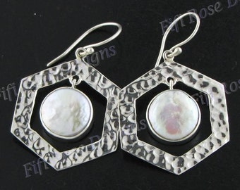 "1 1/16"" Design Biwa Pearl 925 Sterling Silver Earrings"