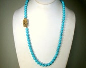 Turquoise Glass Bead Necklace,  1960s with Very Fancy Gold Flowered Catch, Hand Knotted Strand