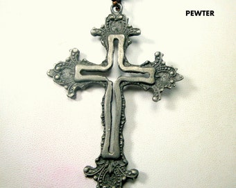 Pewter Cross Pendant on Adjustable Length Silver Chain, Religious  OOAK Combo, Recycled Ecochic Parts