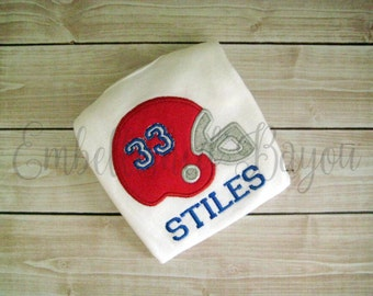 Football Helmet Personalized Appliqued T-shirt or Onesie for Boys, Choose your team