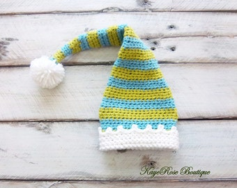 Newborn Baby Boy Elf Stocking Cap Blue, green and White Stripes