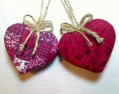 Cranberry Red Heart Ornaments   Party Favors   Holidays   Wedding Bridal   Tree Ornament   Valentines Day   Handmade   Set/2    #2