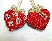 Red Heart Ornaments | Holidays | Heart Decoration | Valentine's Day | Wedding/Bridal | Party Favors | Set/2 | Handmade | Tree Ornament | #1