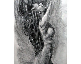Original Painting Drawing Illustration Nude Charcoal Erotic one of a kind handmade woman fashion large art inch 40x28 not a print