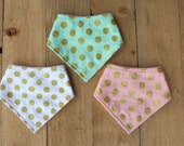Gold Dot Bandana Bibs / Bibdana / Drool Bib for Baby Girl - Gift Set of 3 - Metallic Gold Polka Dots in Pink, Mint and White