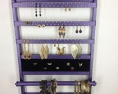 Purple Glitter Deluxe Holder, Elegant Jewelry Organizer Earring Display, Ring Compartment, Necklace Holder, Wall Mount, Solid Oak Hardwood