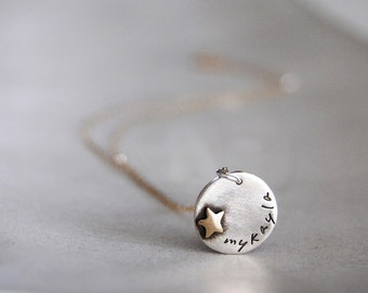 Name Tag Necklace-  Starchild- Tiny Name Plate Necklace with Brass Star Rivet