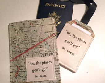 """Passport Cover Map Print,  luggage tag set """"Oh the Places you'll Go"""" passport case on map"""