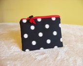 PEN & PENCIL Pouch Large zippered pouch zippered bag. Black and cream polka dots. Optional red accents