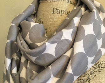 Gray and White Polka Dot Cotton Jersey circle scarf Cowl Scarf  Fall Winter Fashion Accesory - Ladies Teens - Custom Made