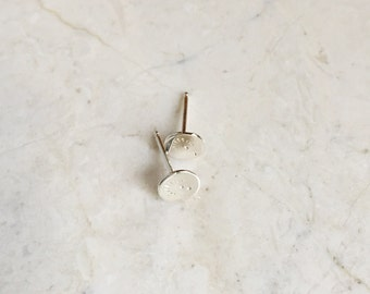 Tiny Sterling Stamped Studs. Sterling Silver. Small Post Earrings. Tiny Earrings. Small Silver Studs. Modern. Minimalist.