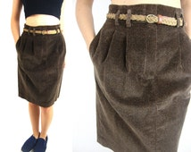 90s high waist corduroy skirt brown small waist 26 pockets