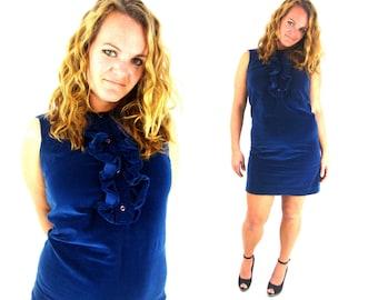 60s mod blue velvet ruffle baby doll dress / medium