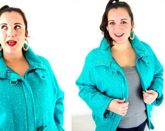 80s teal wool coat / oversize / m / l