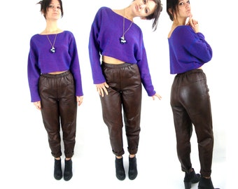 70s baggy leather pants / brown / small
