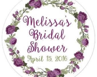 60 Wedding Shower Stickers, Floral Bridal Shower Labels, Stickers, Wedding Shower, Bridal Shower Favor, Purple Floral