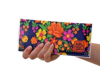 Bi-fold Clutch - Colourful floral bouquets vintage fabric