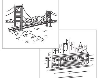 SAN FRANCISCO IRON-on pack for embroidery, city embroidery, modern embroidery patterns, sf design, hand embroidery by Studiomme