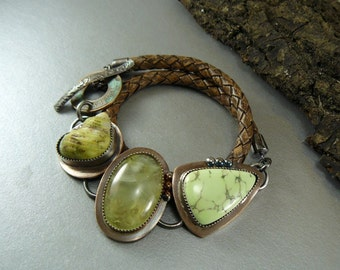 Prehnite Bracelet, Chrysoprase, Sea Shell, Oxidized, Sterling Silver, Copper Bracelet,  Leather Wrap Bracelet, Art Jewelry, unique, Gemstone