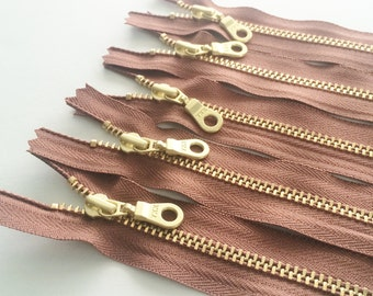 YKK Brass Gold Metal Donut Pull Zippers (5) Pieces - Dusty Mauve 855 -  Available in 7,9,12, and 16 inches