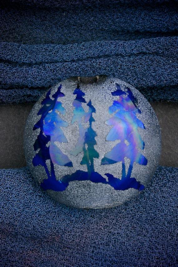"Handmade Lampwork Glass SRA ""Blue Pines"" Sandblasted Focal Bead Lentil Silver Glass Lustre"