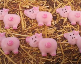 Edible Fondant Pigs-Fondant Farm Animals-Set of 12-Pig Cake/Cupcake Toppers