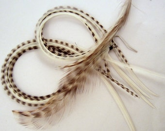 long thick  White Feather Earrings with badger natural
