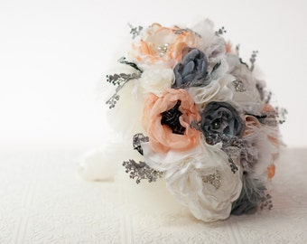 Brooch Bouquet, Fabric Wedding Bouquet, Silk flower style Cabbage Roses with rhinestone and pearl brooches, Shabby Chic Bouquet, poppies