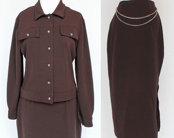 70s Cropped Jacket and Skirt / Brown Polyester Stretch Knit / Midi Skirt / Medium to Large