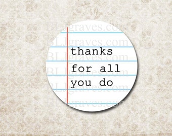 Thank You Stickers Teacher Stickers Thanks For All You Do School Teacher Appreciation Stickers Party Favor Treat Bag Stickers SP075