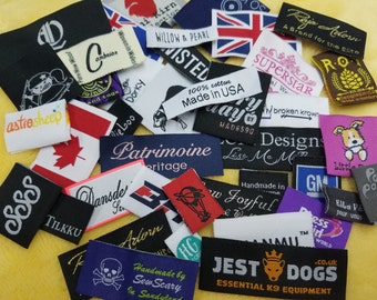 A Hong Kong Company 200pcs Custom Woven Labels (Artwork) for Caftans, Bottoms, One Pieces, Coats, Bibs, Burp Cloths, Costumes, Dresses
