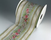 """Green, Pink and Ivory  Floral Jacquard Ribbon  4 1/2"""" Wide 2 Yard Length"""