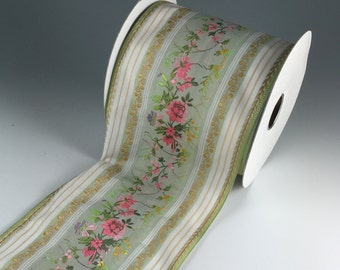 """WEDDING BOUQUET WRAP Green, Pink and Ivory  Floral Jacquard Ribbon  4 1/2"""" Wide 2 Yard Length"""