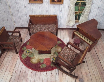 "Antique Dollhouse Furniture - Art Deco Parlor Set with Settee, Two Chairs, Table, Piano & Stool - 3/4"" Scale"