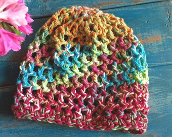 Random Threads All-Season Cotton Beanie Crocheted in Soft 100 pct Cotton Yarns - Mostly Cool Colors - Women girl teen - beach collection