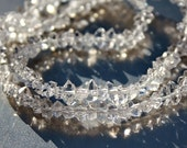 Clear Sparkle Herkimer Diamond Naturally Faceted Point Crystal Beads 2 inch strand 12-13 beads