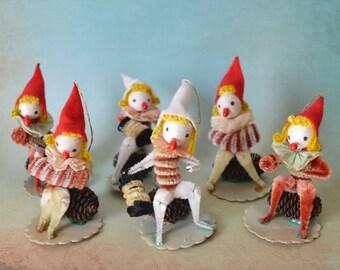 6 Vintage Pine Cone Elf Christmas Ornaments Spun Cotton Chenille