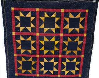 Patchwork Wall Hanging Navy Gold Red Square Vintage