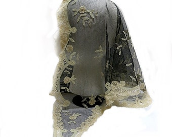 Princess Net Lace Mantilla Veil Vintage Handmade Black Netting