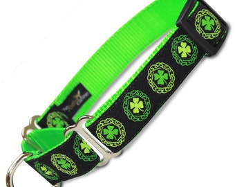 "Irish Clover Martingale Dog collar, Limited Slip Collar with Fabric Loop, x-small 5/8"", small 5/8"", medium 3/4"", large 1"", x-large 1"" wide"