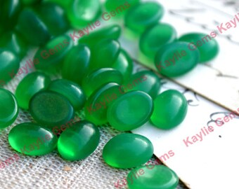 Vintage Glass Cabochon Cab Tear Drop 8x6 Emerald Grend - BIN3 - 8pcs