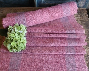 P 322 antique handloomed lin FADED ROSE 5.137yards by 19.69inches ; upholstery fabric wool and lin cushion pillow
