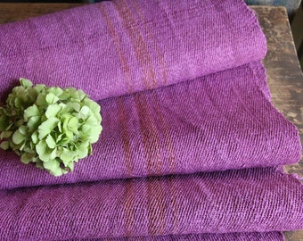 R 390 antique handloomed lin MAGENTA 4.372yards rural;  by 17.32inches ; stairrunner, cushion, pillow, french lin,upholstery fabric