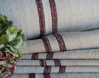 C 582 antique hemp linen AUBERGINE upholstery christmas tablerunner benchcushion Beachhouse look tablerunner 5.24yards