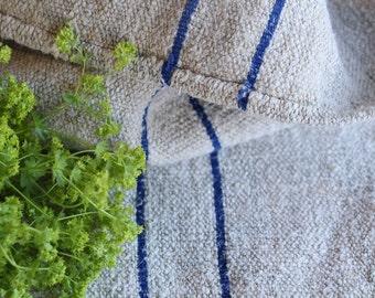 B 239:  antique SWEDISH BLUE grain sack upholstery fabric 42.52 long bathmat WEDDING decor cushion french lin 천