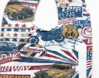 Route 66 Flannel Baby Bib - Cruising Cars Baby Bib - Classic Hot Rods Bib - Vintage Cars Baby Bib - Road Trip Bib