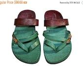 20% OFF Multi Color Decor Moon Leather Sandals for Men & Women - Green Version