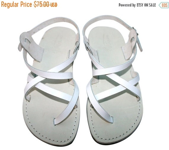 15% OFF White Triple Leather Sandals for Men & Women - Handmade Unisex Sandals, Wedding Sandals, Jesus Sandals, Strappy Flats, White Leather