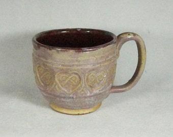 Rustic Celitc Heart Mug Mauve/Red Handmade